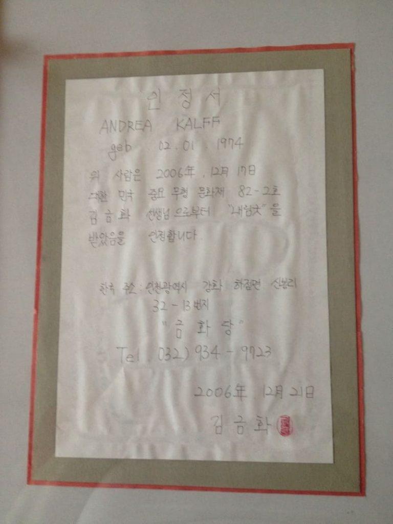 Koreanisches Zertifikat in Handschrift Andrea Kalff